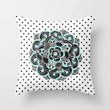 Mint & Charcoal Mandala Flower on Black Polka Dots Throw Pillow by Tangerine-Tane