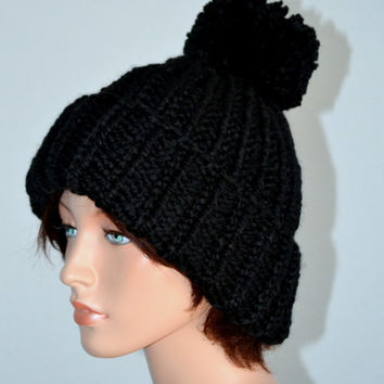Knitted Old English Beanie in Black Wool