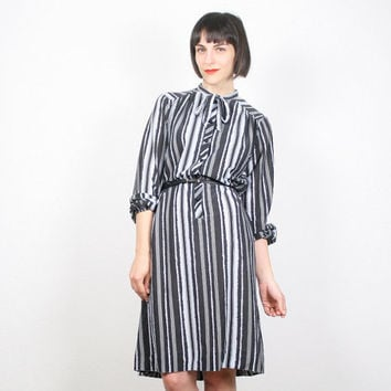 Vintage Midi Dress Black Gray Striped Dress Secretary Dress Shift Dress Work Dres Day Dress Mod 1980s 80s Does 60s Dress L XL Extra Large