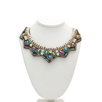 Iridescent Beads 'N Faux Jewels Necklace