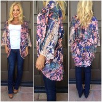 Joy Is A Flower Printed Kimono - NAVY & PINK