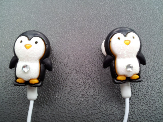 Penguin earbuds with glitter and a swarovski by HoneyBadgerBuds