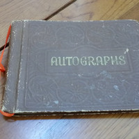 Little Vintage School Stamped Faux Leather Autograph Book