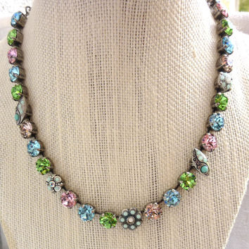 Swarovski crystal necklace , green blue pink, floral embellished. designer inspired Siggy crystal necklace