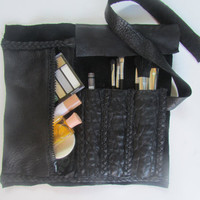CosmeticLeather roll bag, Pencil Case,Black Leather Travel Case