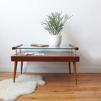 Brass, Wood & Glass Two Tiered Coffee Table