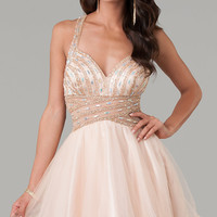 Short Sleeveless Beaded Prom Dress by Dave and Johnny 9244