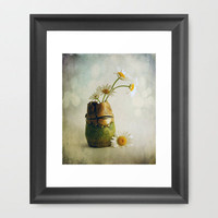 Daisies in a Handmade Vase Framed Art Print by Susan Weller | Society6