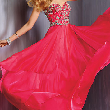 Long Strapless Chiffon Formal Gown by Alyce