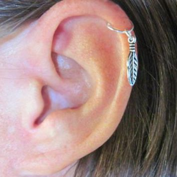 Ear Helix Cuff One Feather Color Choices No Piercing