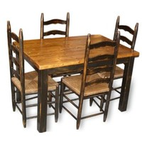 Furniture :: Kitchen & Dining :: Dining Tables :: Country Primitive Farmhouse Table & Chairs Set-Distressed