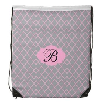 Monogram Pink & Grey Drawstring Backpack