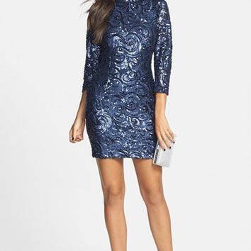 a. drea Sequin Open Back Body-Con Dress (Juniors)