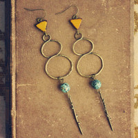 talla  a pair of mustard and teal infinity by RootsandFeathers