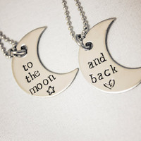 Hand Stamped Necklace Set To the moon and back stainless steel crescents by StampedMemoriesbyMel