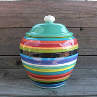Bright Rainbow Jumbo Striped Ceramic Cookie Jar or by InAGlaze