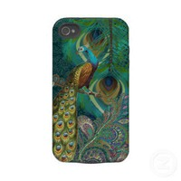 Damask Peacock  Feather You Choose Color Tough Iphone 4 Cover from Zazzle.com