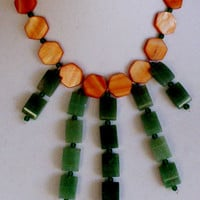 Green and Burnt Orange Bib Necklace, Womens Jewelry, Handcrafted Necklace Earring Set