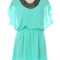 Teal/Turquoise Cocktail Dress - Teal Chiffon Dress with Embellished | UsTrendy