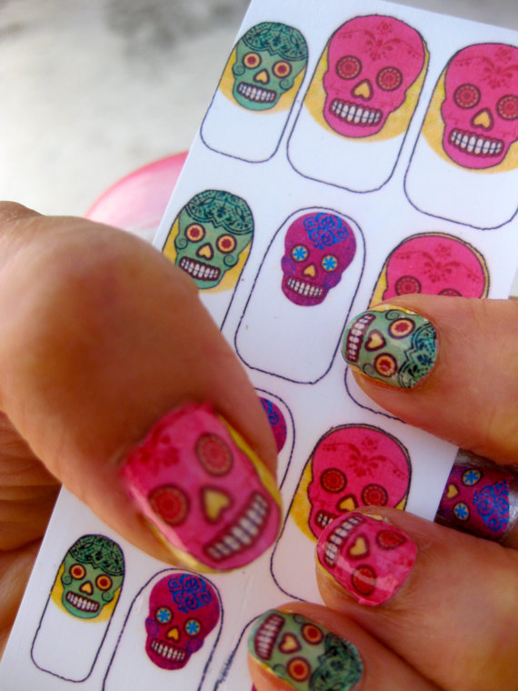 Colorful Sugar Skull Nail Decals Mexican Day of by chachacovers