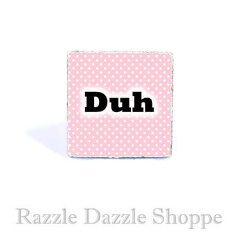 Pink DUH Adjustable Ring - Polka Dots Kawaii Soft Pastel Goth Jewelry by RazzleDazzleShoppe