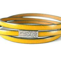 Eco Friendly Leather Wrap Bracelet with Pewter Magnetic Clasp, Autumn Mustard Yellow, Autumn Glory Collection, Modern Minimalist
