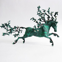 Green Plant Horse Skulpture Figurine Art Fantasy Animals Totem Amulet
