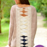 Laced Together Sweater, Taupe
