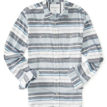 Long Sleeve Oxford Stripe Woven Shirt
