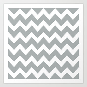 Chevron Grey & White Art Print by BeautifulHomes | Society6