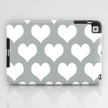 Hearts of Love Grey & White iPad Case by BeautifulHomes | Society6