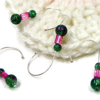 Removable Stitch Markers Crochet Green Confetti Hot Pink Snag Free Beaded Gift for Crochet Snagless DIY Crochet