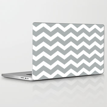 Chevron Grey & White Laptop & iPad Skin by BeautifulHomes | Society6