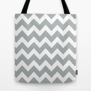 Chevron Grey & White Tote Bag by BeautifulHomes | Society6
