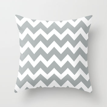 Chevron Grey & White Throw Pillow by BeautifulHomes | Society6