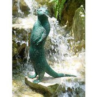 Ollie the Obnoxious Otter Spitting Bronze Garden Statue - BB236738                    - Design Toscano