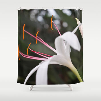 White Lily Shower Curtain by Legends of Darkness Photography