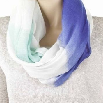 Cobalt Blue & Mint Infinity Scarf