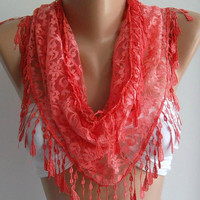 pomegranate flower color // Elegance Shawl / Scarf with by womann