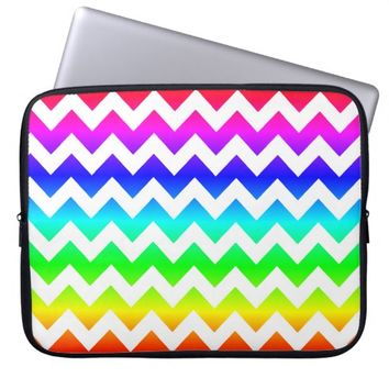 Rainbow White Chevron Laptop Sleeve