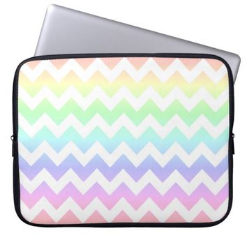 Rainbow Pastel White Chevron Laptop Sleeve