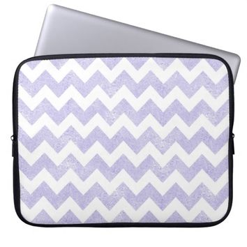 Purple Glitter White Chevron Laptop Sleeve