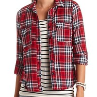 Long Sleeve Flannel Button-Up Top
