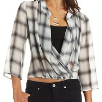 Sheer Plaid Chiffon Wrap Top
