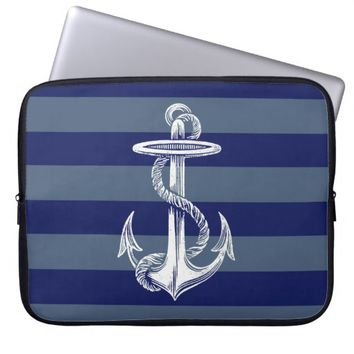 Vintage Anchor Navy Gray Blue Stripe Laptop Sleeve