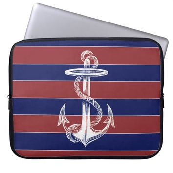 Vintage White Anchor Red Blue Stripe Laptop Sleeve