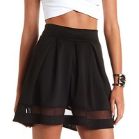 MESH CUT-OUT PLEATED SKATER SKIRT