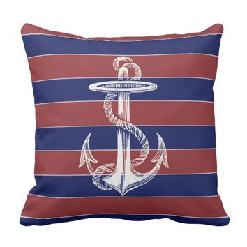 Vintage Anchor red Blue Stripe Throw Pillow