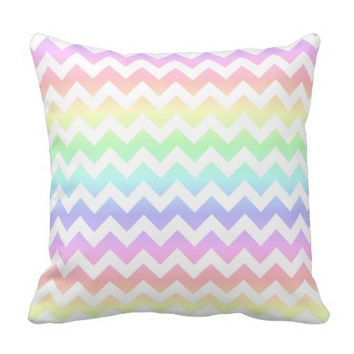 Rainbow Pastel White Chevron Throw Pillow