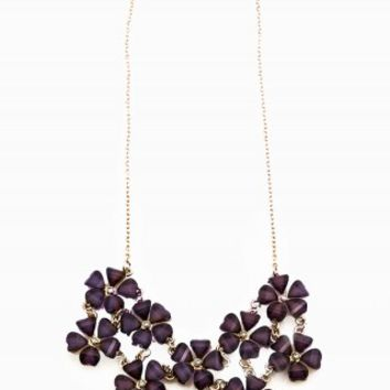 FLORAL GLITTER STATEMENT NECKLACE